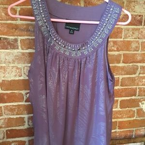 Tank top with beaded neckline